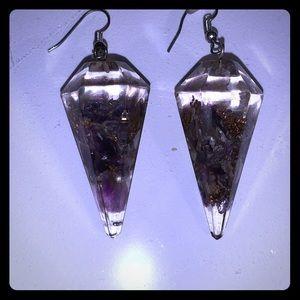 Crystal point resin earrings